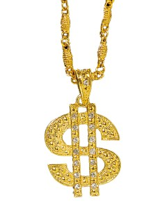Halskette Dollarzeichen mit Schmucksteinen gold