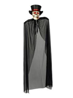 Skelett mit Zigarre Halloween-Hängedeko schwarz-weiss-rot 150cm