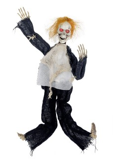Animierter Gehängter Skelett Halloween Hängedeko weiss-schwarz 80x60cm