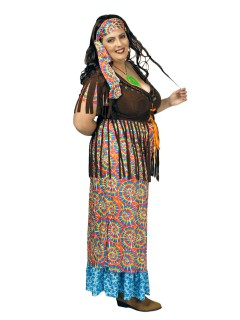 Hippie Flower Power Damenkostüm Plus Size bunt