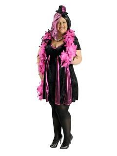 Heisses Showgirl Damenkostüm Plus Size schwarz-pink