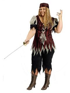 Edle Piratin Freibeuterin Damenkostüm Plus Size rot-schwarz-beige