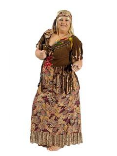 60er Hippie-Kleid Damenkostüm Plus Size braun-bunt