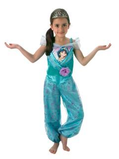 Disney Aladdin Prinzessin Jasmin Kinderkostüm Lizenzware mit Diadem türkis