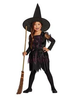 Hexen-Kinderkostüm für Mädchen schwarz-violett