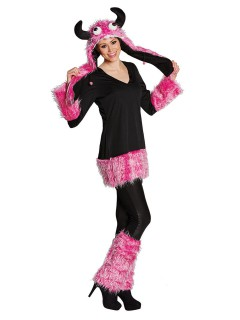 Süsses Monster Halloween Damenkostüm pink-schwarz