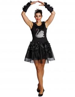 Eleganter Schwan Halloween Damenkostüm schwarz-grau