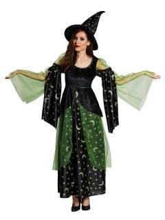 Elegante Magierin Hexe Halloween Damenkostüm schwarz-grün