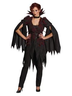 Edler Hexen Mantel mit Kragen Halloween Damenkostüm schwarz-rot