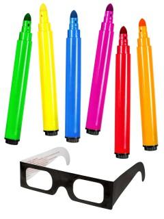3D Malstifte mit 3D-Brille Mal-Set 7-teilig bunt