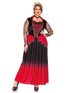 Edle Vampirin Halloween Damenkostüm Plus Size schwarz-rot