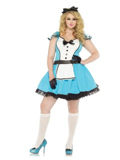 Süsse Alice Märchen Damenkostüm übergrösse blau-weiss-schwarz