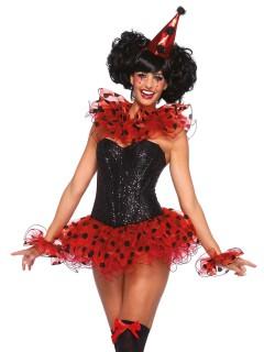 Süsser Clown Kostüm-Set Kragen Armband und Hut rot-schwarz