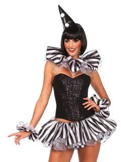 Süsser Harlekin Kostüm-Set Kragen Armband und Hut weiss-schwarz