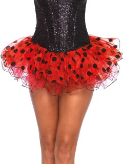Petticoat Tutu mit Rüschen gepunktet schwarz-rot