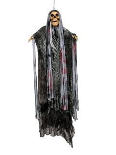 Schauriger Skelett-Dämon Halloween-Hängedeko grau-braun 146cm