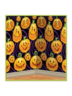 Freundliche Kürbisse Halloween Wand-Deko-Folie schwarz-orange 121x76cm