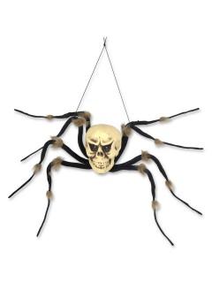 Spinnen-Skelett Halloween Hänge-Deko Totenschädel schwarz-weiss 96cm