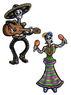 Tag der Toten Skelette Halloween Party-Deko-Set 2 Stück bunt 36cm
