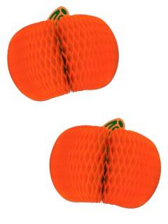 Kürbis Waben Halloween Party-Deko 2 Stück orange 18cm