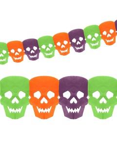 Day of the Dead Totenkopf Girlande Halloween Party-Deko bunt 360x14cm
