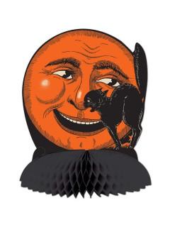 Katze und Mond Wabe Halloween Party-Tischdeko schwarz-orange 25cm