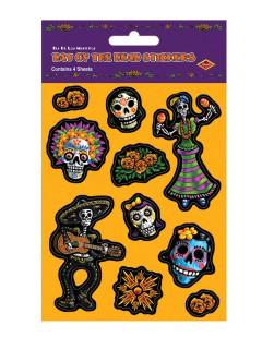 Tag der Toten Aufkleber-Set Halloween Party-Deko 10 Stück bunt 12x19cm