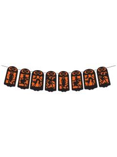 Scherenschnitt Banner Halloween Party-Deko orange-schwarz 360x19cm