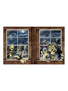 Zombie-Angriff Halloween Wand-Dekofolie bunt 1x1,6m