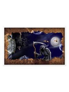 Sensenmann Halloween Wand-Deko-Folie bunt 1x1,63m