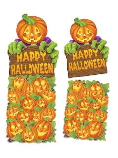 Süsse Kürbis Pappfiguren Halloween Party-Deko Set 2-teilig orange-grün 60x47cm