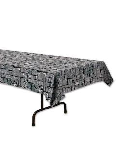 Stein-Mauer Tischdecke grau 137x274cm
