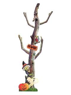 Verwunschener Baum Pappfigur Halloween Party-Deko grau 18x50cm