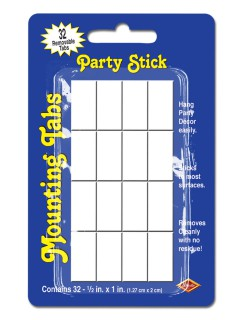 Klebestreifen für Party-Deko weiss 32 Stück 1,5x2,5cm