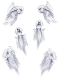 Gruselige Gespenster Halloween-Wanddeko-Pappfiguren weiss 6 Stück 165x84cm