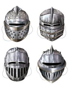 Ritter-Helm Mittelalter-Masken Set grau 4 Stück