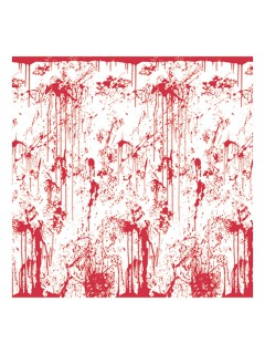 Blutige Wand Halloween Party-Deko-Folie rot-weiss 121x76cm
