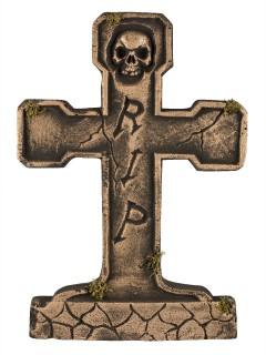 Grabstein RIP mit Skelett Halloween-Deko 65cm bronze