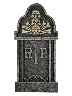 Grabstein Skelett mit Leuchtaugen Halloween-Deko 90cm grau-rot