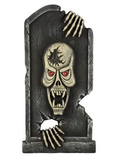 Horror-Grabstein Skelett mit Leuchtaugen Halloween-Deko 90cm grau-rot