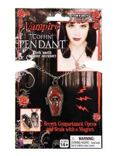 Vampirin Sarg Halskette mit Magnet gold-rot