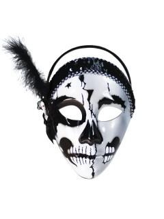 Sugar Skull Gesichtsmaske mit Federn weiss-schwarz