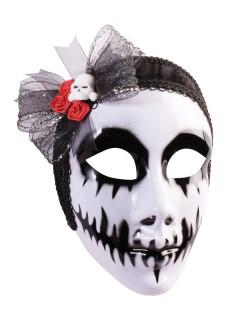 Tag der Toten Totenschädel Vollmaske mit Haarschleife weiss-schwarz-rot