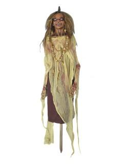 Voodoo Priesterin Halloween-Dekofigur beige-braun 48cm