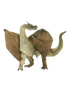 Drache mit Flügeln Deko-Figur grün 48cm