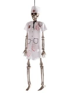 Blutiger Skelett-Arzt Halloween Hänge-Deko weiss-beige 40cm