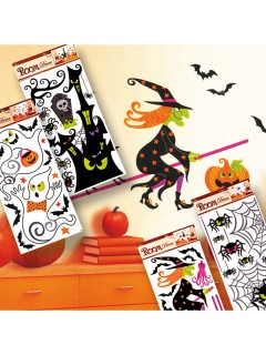 Lustige Grusel-Sticker Halloween Party-Deko Set 12-teilig bunt 60x32cm