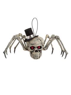 Totenschädel Spinne mit Zylinder Halloween Party-Deko grau-schwarz 25cm