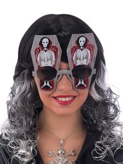 Sarg mit Skelett Brille Funbrille grau-rot