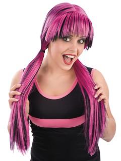 Gothic Vampirin Zopf-Perücke mit Pony pink-schwarz